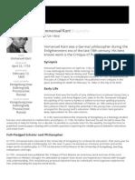 Immanuel Kant - - Biography