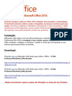 Passo a Passo e Chave Original Do Produto Microsoft Office 2016 Pro Plus