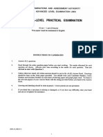 2004 AL Biology Practical Examination