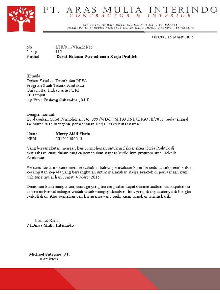 Surat Balasan Permohonan Kerja Praktek 1