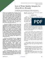 Response Analysis of Water Quality Integrity for Sebeya River, Rwanda