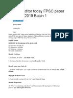 Senior Auditor Today FPSC Paper 28th July 2019 Batch 1