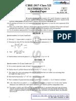 CBSE 2017 12th Mathematics Question Paper