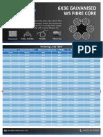 Datasheet 6x36 Galvanised WS Fibre Core