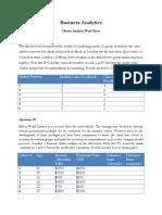 Cluster Analysis Work Sheet