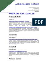 Noticias Del Martes 30.07.2019