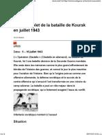 Récit Complet de La Bataille de Koursk en Juillet 1943