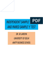Mr- ' t ' Test-Independent Sample and Paired Sample
