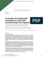 O Projeto de Integração Amazônica Visto Pela Turistificação Dos Lugares