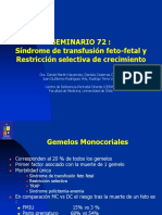 Seminario 72 Sindrome de Transfusion Feto Fetal y Restriccion Selectiva Archivo