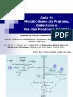 Aula 4 - Metabolismo Da Frutose, Galactose e via Das Pentose-fosfatos (2018)
