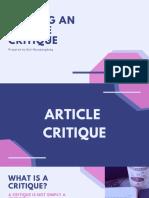 Writing An Article Critique