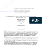 2004 Lundvall National Innovation Systems - Analytical Concept and Development Tool