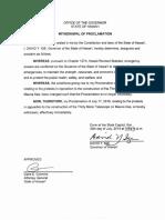 Withdrawal of emergency proclamation for Mauna Kea