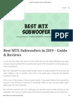 Best MTX Subwoofers in 2019