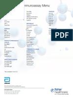 Abbott Architect Immunoassay Data Sheet