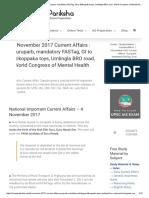 4 November 2017 Current Affairs _ Guruparb, Mandatory FASTag, GI to Etikoppaka Toys, Umlingla BRO Road, World Congress of Mental Health