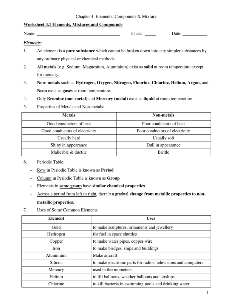 elements, compounds, mixtures worksheet | Chemical ...