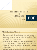 Role of Students in Research Dr Menchita Dumlao