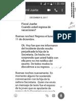 Texteo Entre El Fiscal de Distrito de Caguas, Yamil Juarbe, y La Jefa de Fiscales, Olga Castellón Diciembre 2017 (Noticel)