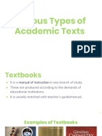 Various Types of  Academic Texts