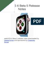 WatchOS 6 Beta 5 Release Notes