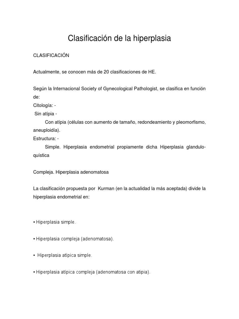 hiperplasia endometrial compleja con atipia sintomas
