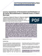 Activity Relatedness of Environment and Distribution of Air borne Biocontaminants in Selected Areas of Owerri Municipal