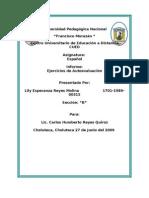 EJERCICIOS DE AUTOEVALUACION ESPAÑOL