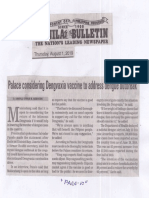 Manila Bulletin, Aug. 1, 2019, Palace considering vaccine to address dengue outbreak.pdf