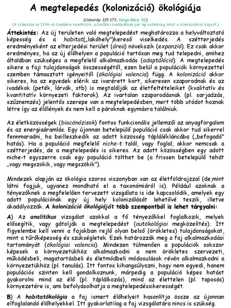a parazita populáció szerkezeti részei)