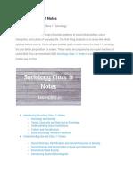 Sociology Class 11 Notes