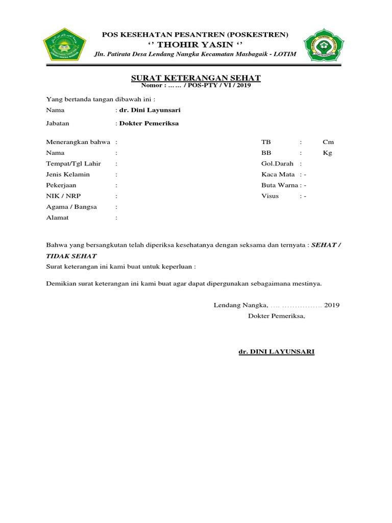 Surat Keterangan Sehatdocx