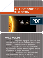 Theories on the Origin of the Solar System
