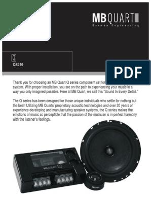 Mb Quart Qs216 Speaker Manual Loudspeaker Sound Production Technology