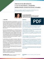 Importancia de la alimentación, su relación con el crecimiento y desarrollo, así como con el establecimiento de las funciones oclusales