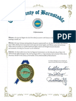 Barnstable County Proclamation, August, 2019, Cape Cod Gray Seal and Great White Shark Awareness Month