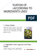 Classification of Salad According to Ingredients Used