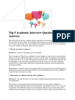 Top 5 Academic Interview Questions and Answers