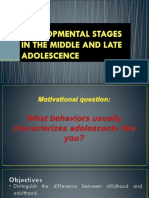 Developemental Stages in the Middle and Late Adolescence