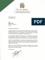 Carta de felicitación del presidente Danilo Medina por 130 aniversario del periódico Listín Diario