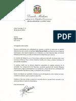 Carta de condolencias del presidente Danilo Medina a Sagrario Doñé por fallecimiento de su padre, Nelly Manuel Doñé
