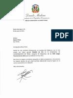 Cartas de felicitaciones del presidente Danilo Medina a medallistas de los XVIII Juegos Panamericanos 2019