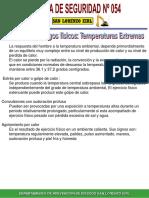 Charla de Seguridad N° 054 Factores de riesgos temperaturas extremas
