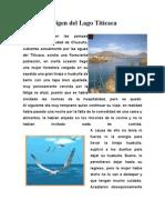 Origen Del Lago Titicaca
