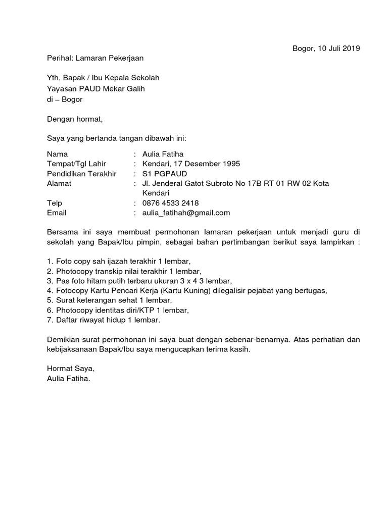 15++ Contoh Surat Lamaran Kerja Guru Paud - Kumpulan ...