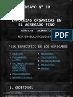 ENSAYO N° 10 - IMPUREZAS ORGANICAS EN EL AGREGADO FINO