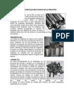 Clases de Metales Más Usados en La Industria