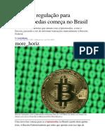 PRIMEIRA REGULAÇÃO DE CRIPTOMOEDAS NO BRASIL