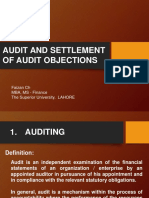 Settlement of Audit Objections